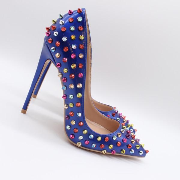 Foto reali Fashion Womens Royal Blue borchie tempestate di pelle verniciata rivetti punta a punta Sexy scarpe tacchi alti pompe 10 centimetri tacchi a spillo