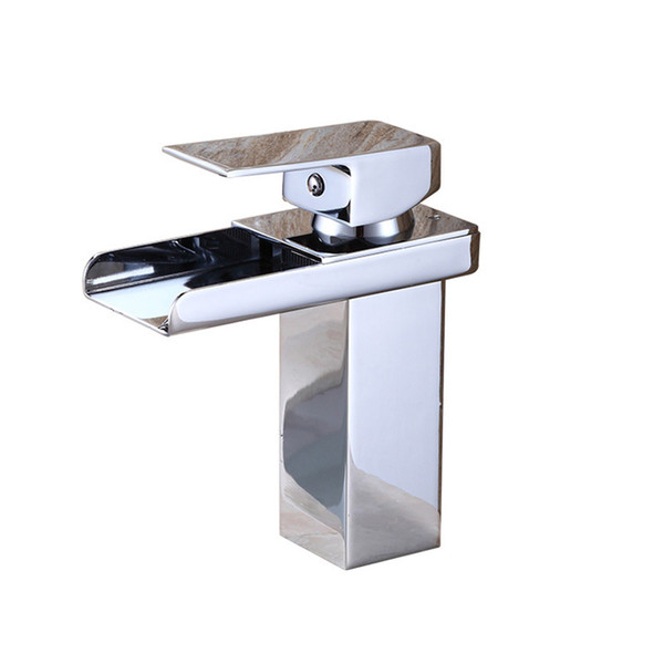 Wash Basin Sanitary Ware Lavatory Faucets Modern For Bathroom Sinks With 2 Tubes Single-lever Without Lead Chrome Waterfall