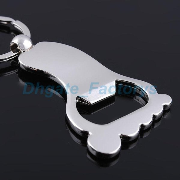 Creative Foot Shaped Bottle Opener Keychain Metal Key Ring Key Chain Holder Customized Baby Shower Baptism Favor Gift JF-728