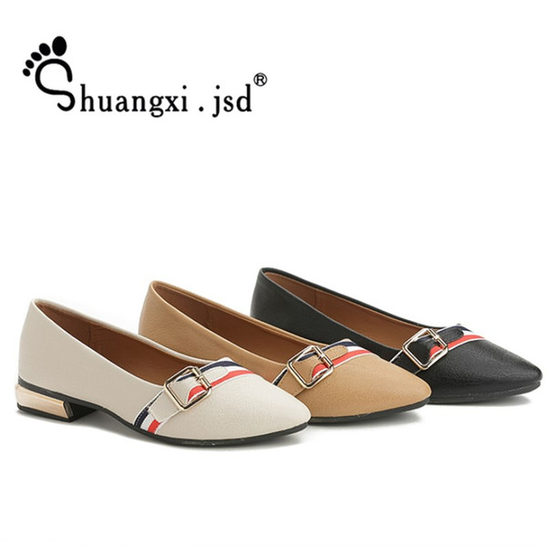 Designer Dress Shoes Shuangxi.jsd Designer Women Luxury 2019 Summer wild low-heeled pointed shallow mouth Casual Leather Zapatos mujer