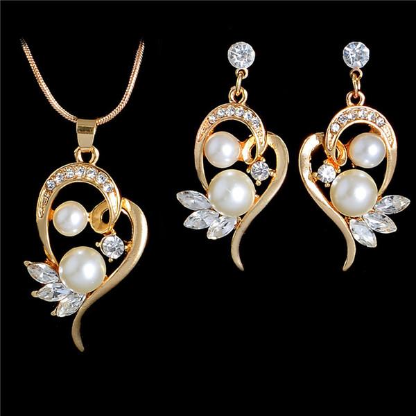 Goldkette Special Imitation Pearl Attraktive Österreichische Kristall Anhänger Halskette + Ohrringe Hochzeit Schmuck Sets