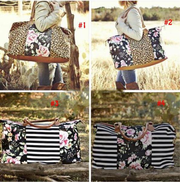 Полосатый цветочный леопардовый холст дорожная сумка модная женская сумка для беременных с принтом подгузников