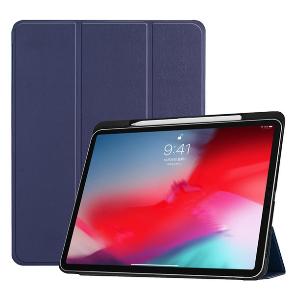30PCS Solid PU Leather Case Smart Cover with Pencil Slot for Apple iPad Pro 11 A1979/A1980/A1934/A2013 Tablet PC Cases+Stylus
