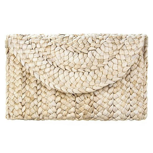 Milho Leather Clutch Mulheres Straw Feminino clipe saco tecido Casual Bolsa Ladies portáteis Bolsa Summer Beach Bag Embreagens sólida dia