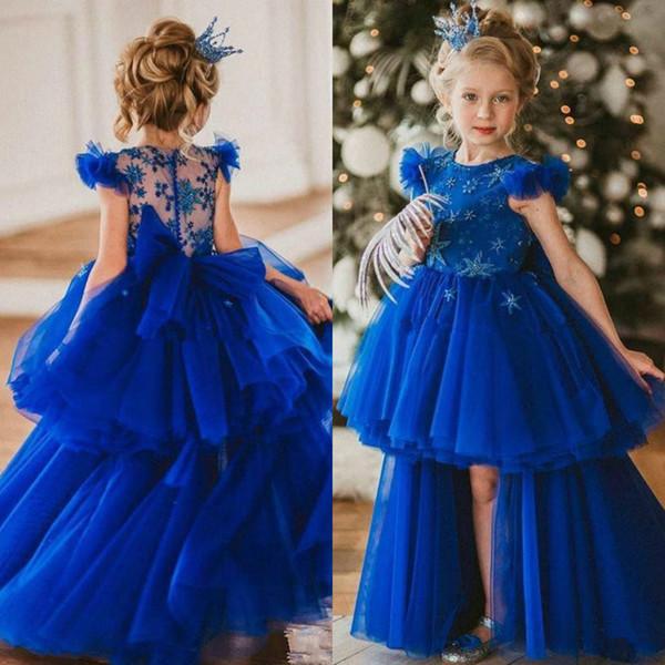 Royal Bleu Haute Basse perlée 2020 robes fille fleur pour mariage Une ligne hiérarchisé enfant en bas âge Pageant Robes Tulle Enfants Communion Dress