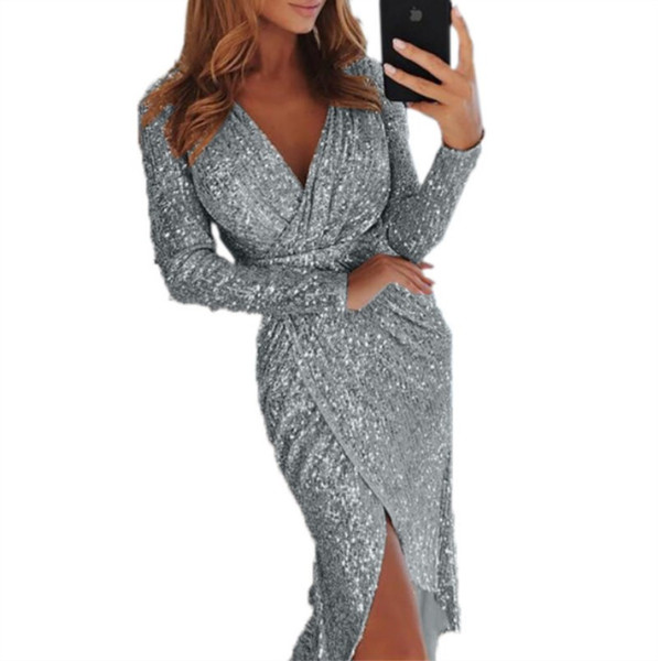 Kadınlar uzun kollu yaz elbise tasarımcısı Orta Buzağı tek parça elbise yüksek kalite skinny etek zarif lüks clubwear klw0211