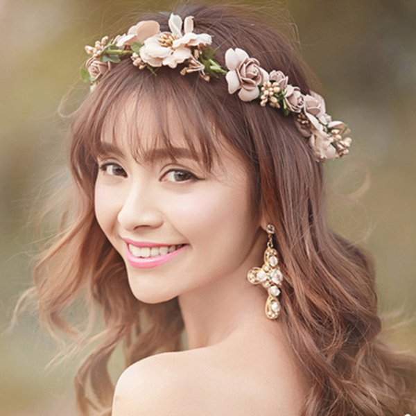 TUANMING Plant Pageant Multicolor Flower Crown Accessories New Fashion Summer Wedding Luxury Tiara Bridal Hair Band