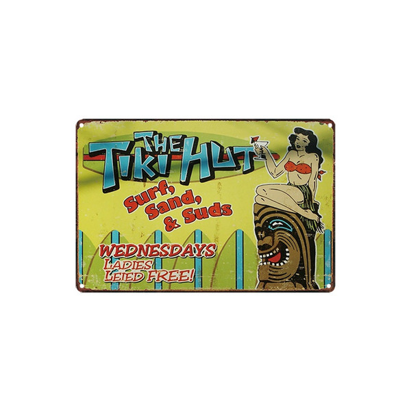 classic vintage take some home today THE TiKi HUT FARMALLS SOLD HERE Sport's Car tin sign Coffee Shop Bar Wall decor Bar Metal Paintings
