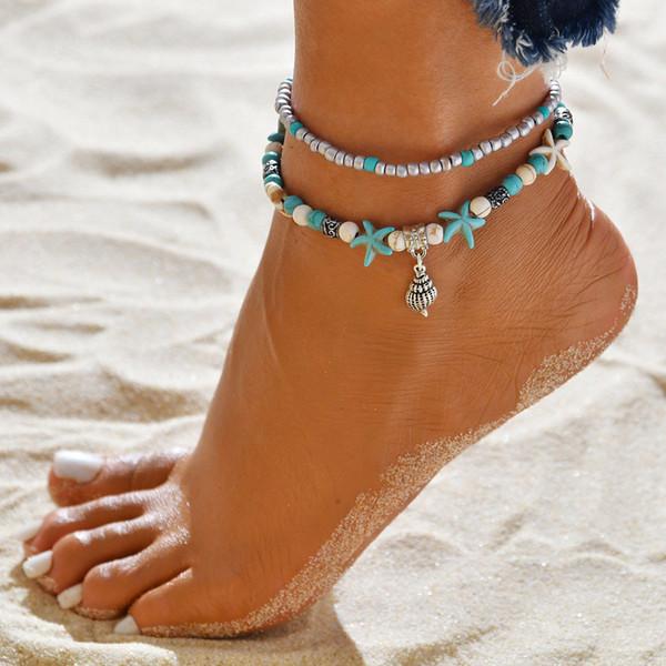 Joyería azul de la tortuga de mar de la perla para el tobillo hecha a mano Boho multicapa Tobillera encanto de los granos Mar Playa Pie de muchachas de las mujeres