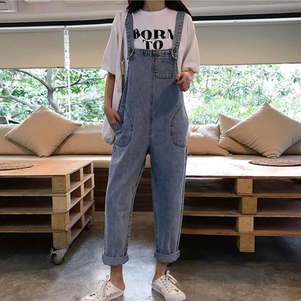 Ombro 2019 New Style coreana de estilo Loose-Fit Adorável Idade friso Light Blue Cowboy Suspender Calças Strap jeans feminina