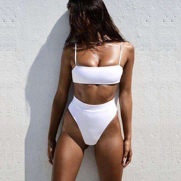 Sexy Solid Black Cintura alta Bikini 2019 Traje de baño Bikinis Bandeau Conjunto Push Up Traje de baño Tanga Desgaste Natación para traje de baño