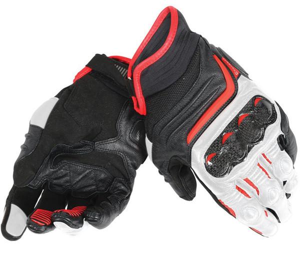 Black/White/Lava Red Dain Carbon D1 Short Gloves for Motocross Mens Leather Gloves