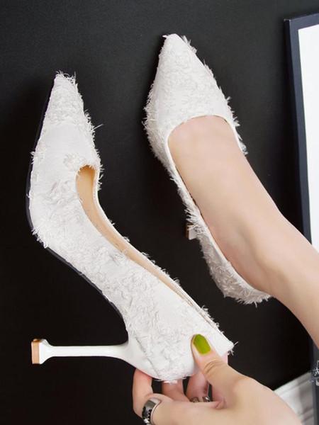 Frühling neue Persönlichkeit spitzen flachen Mund Frauen einzelne Schuhe koreanische Art und Weise 10 cm lässig professionelle High Heels