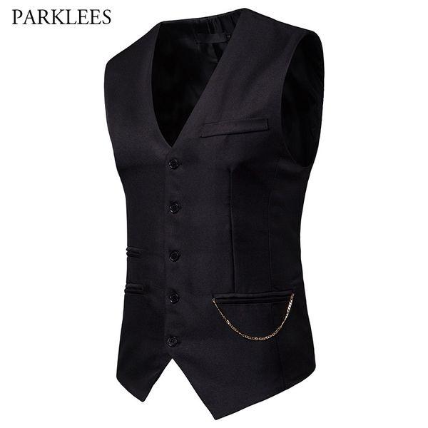Mens Gentleman Formal Slim Fit Single Breasted Black Dress Suit Vests 2019 Fashion Chain Decoration Men Vest Waistcoat Gilet 2XL #556135