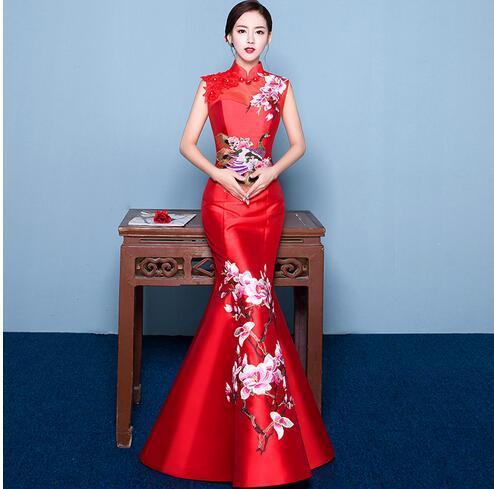 2019 cauda sereia estilo asiático de manga curta moda bordado vermelho casamento da noiva qipao longo cheongsam chinês tradicional dress retro