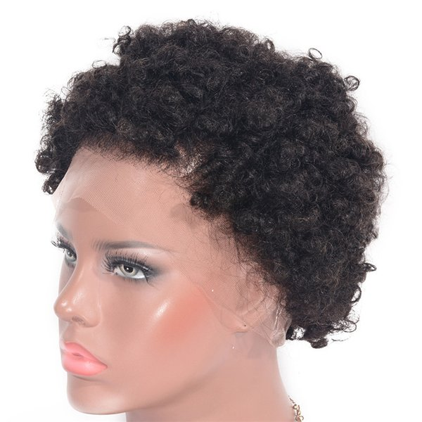 Cambodian Full Lace Wig 130% Density Afro Kinky Curly Wig 6 inch Short Human Hair Lace Front Wig Glueless