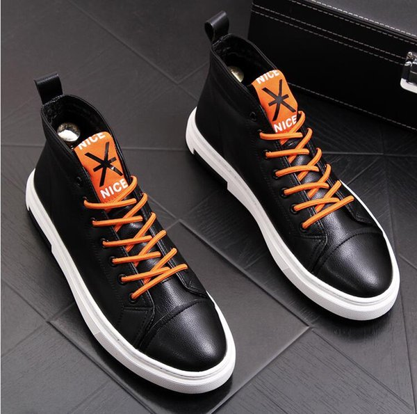 Winter warm high-top shoes tide men's cowboy boots plus velvet fashion cotton shoes snow boots men's short boots