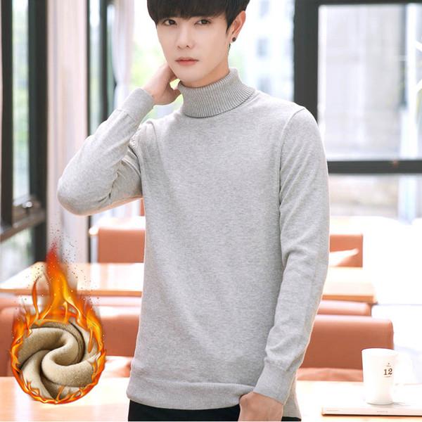 Hohe Qualität Pullover Pullover Männer Neue Mode Winter Rollkragenpullover Fleece Pullover Gestrickte Herren Große Größe Umlegekragen Dicken Mantel