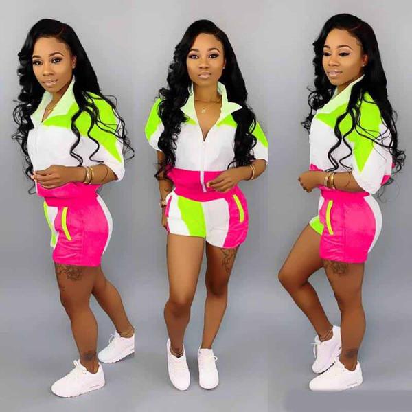 Bayan tasarımcı ceket kısa legging kıyafetler iki parçalı set eşofman giyim tayt spor suit kısa kollu hırka pantolon