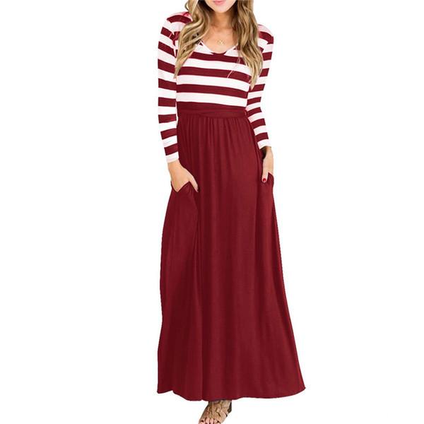 long maxi dress 2019 stripe women dresses long sleeve jumper party girl elegant boho beach dress