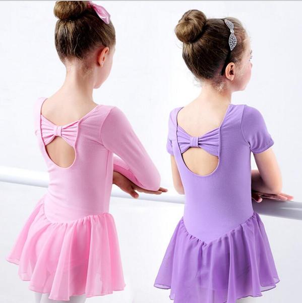 Filles Ballet Dress Gymnastique Justaucorps Manches Longues / courtes Ballet Vêtements Backless Bow Dance Wear Bouton Romper TUTU Jupes YSY196