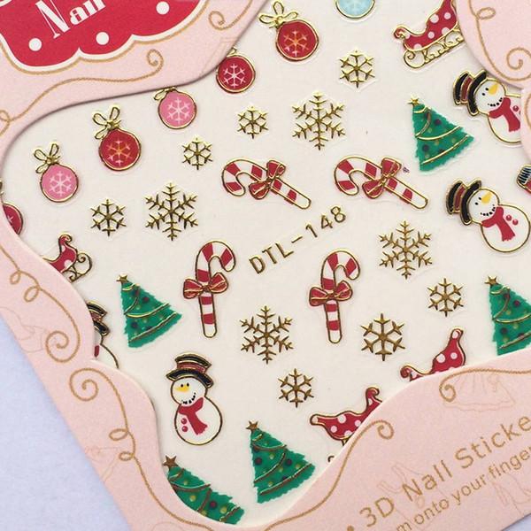 Acqua Transfer Nails Art Sticker Buon Natale 3D elementi dorati Nail Wrap Sticker Consigli adesivi per le unghie