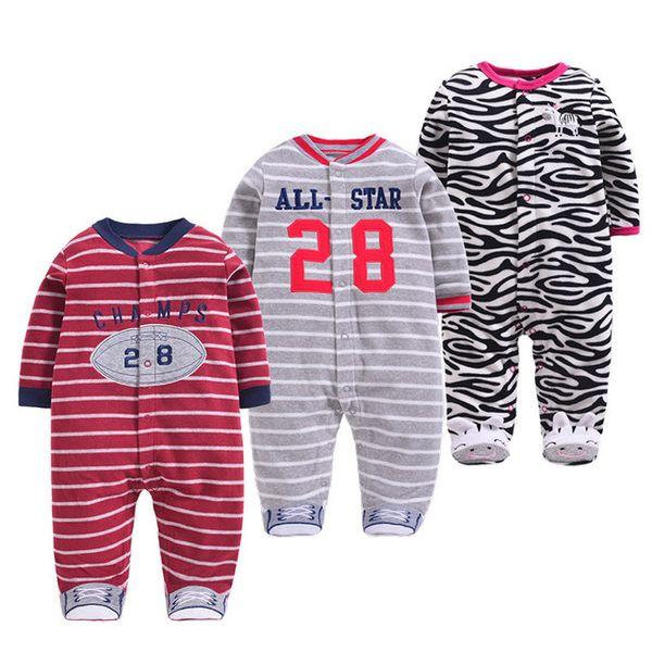 Baby Pajamas Winter Fleece Cute Baby Overalls Warm Newborn Clothes Infants Bebe Romper Toddler Boys Jumpsuit Cartoon Dog Monkey J190525