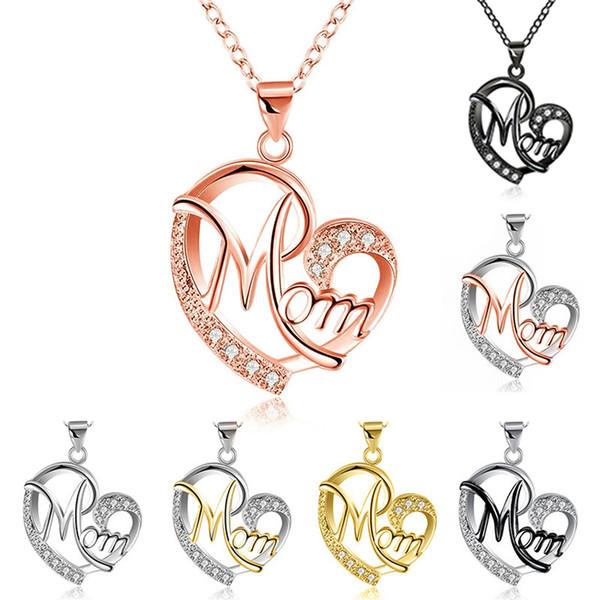 Moda Colar de Jóias Dia das Mães Pingente Gargantilha letra Mãe Clavícula Cadeia em forma de Coração colar de Diamantes Pingentes de Liga C6203