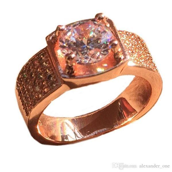 Hotstone88 Fashion Herren herrschsüchtig große 18 Karat Rose Gold925 Sterling Silber simulieren Diamant CZ Edelstein Ring Boys Geschenk SZ 7-13