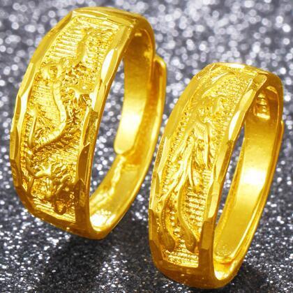 Atacado de Cobre Banhado A Ouro de Casamento Dragão E Phoenix Anel de Abertura Homens E Mulheres Jóias de Ouro Casal anel