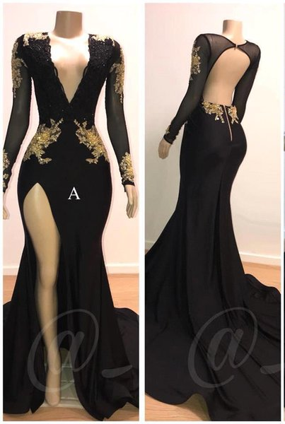 2019 Black Deep V Neck Satin Mermaid Prom Dresses Long Sleeves Lace Applique Split Backless Sweep Train Formal Party Evening Gowns BC0583