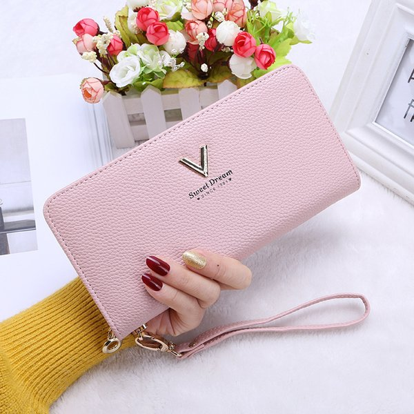 Fashion Leather Wallet Women Wristlet Wallets Purses Phone Holder Money Bag With Zipper Clutch Coin Pocket Card Holder Purses