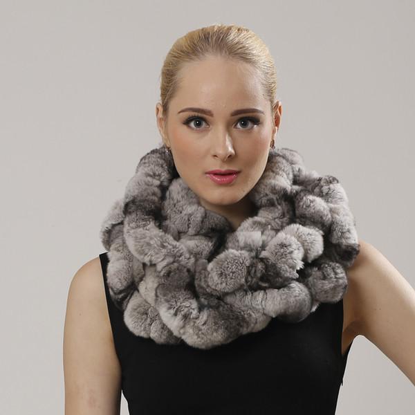 Winter men and womens Real rex Rabbit Fur stole Wrap Muffler loop infinite Handcrafted rex rabbit fur scarf shawl
