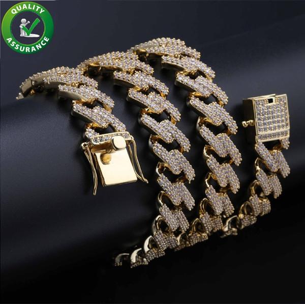 Collana con catene firmate Iced Out Collana con gioielli Hip Hop Cuban Link Bracciale con diamanti dorati con diamanti Luxury Rapper Catena con pavé di cz Charms 14MM Charms