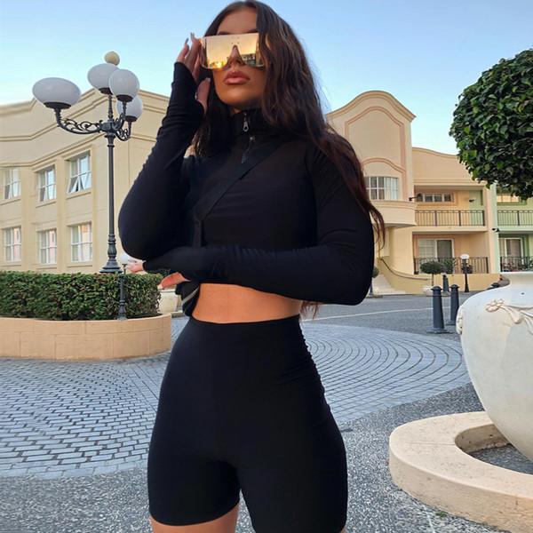 2019 Sudadera de manga larga para mujer Pantalones cortos rectos Traje deportivo de dos piezas