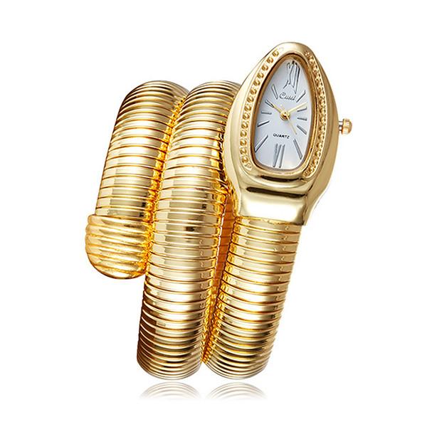 Moda Snake Bangle Relojes Mujer Pulsera Reloj de cuarzo Mujeres Damas Vestido Casual Reloj de pulsera de cuarzo
