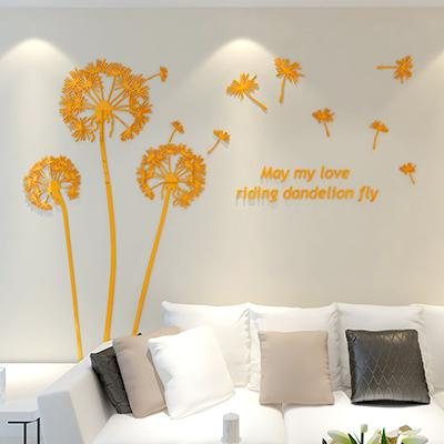 Red orange coffee black dandelion 3d stereo acrylic crystal wall stickers living room bedroom TV backdrop entrance wall decor