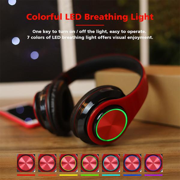 LED Respirar Wireless Headphones Apoio TF 3,5 milímetros de áudio Cabo Gaming Headset com microfone Função dobrável Headband Earphones
