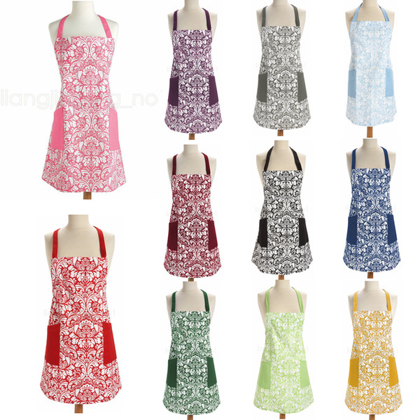 best selling 11styles Retro Aprons printed floral Home Cooking Kitchen BBQ Dinner Party baking Front Pocket home Adult Women Aprons dress FFA2827
