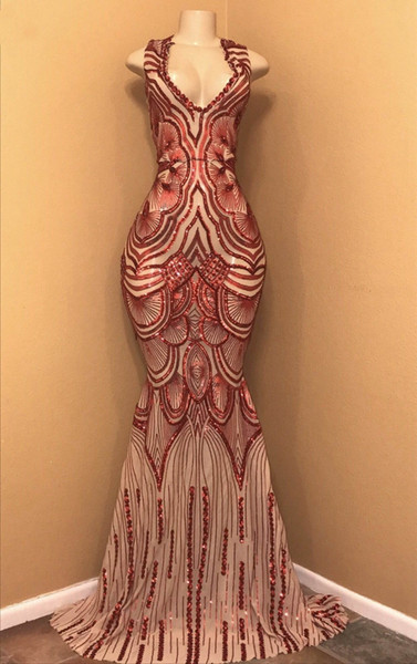 Gorgeous Prom Dresses Long Slim Mermaid Prom Dress New Arrival V-neck Sleeveless Sequin African Women Evening Dresses pageant Prom Gowns