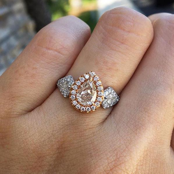 Hot bicolore a goccia d'acqua a forma di anello di zircone e-commerce transfrontaliera per gioielli regalo di compleanno taglia 6-10