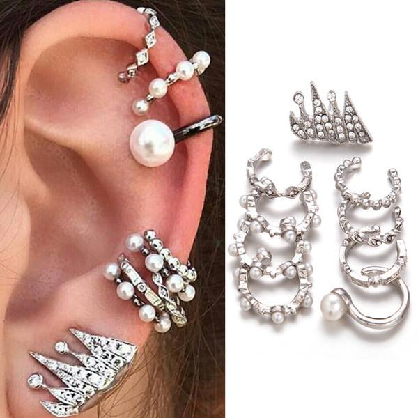 9pcs / set orecchini di clip di cristallo della perla simulato punk per le donne Gioielli di geometria di moda brincos dell'orecchio di colore argento della boemia