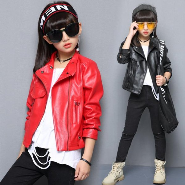 New fashion children PU jacket girls spring shirts large children's casual diagonal zipper artificial leather top
