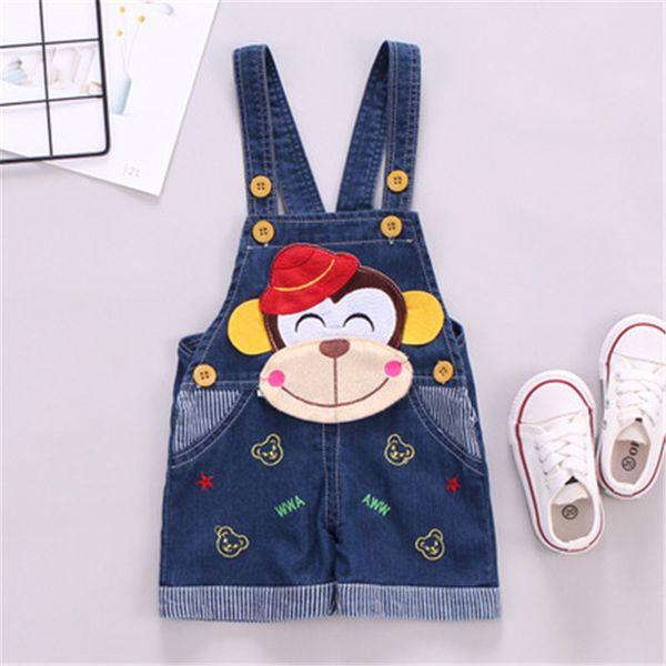 Bambini Neonato Ragazza Tuta Jeans lavati Tute Cinghie Pantaloni corti Cowboy Blu Denim Pagliaccetto Per bambini Simpatiche padelle di moda