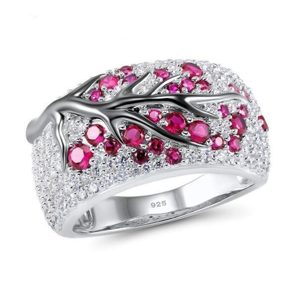 Anelli di ramo di albero placcato argento di modo per le donne creative cristallo foglie zircone strass nozze anelli regali gioielli di partito