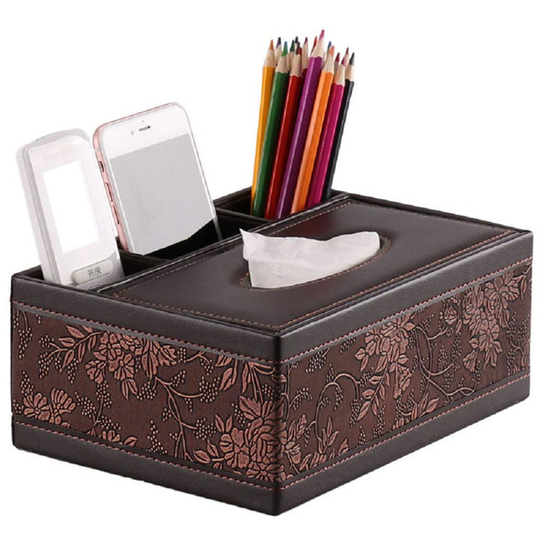 best selling Rectangular Tissue Box Cover, Fashion pattern Leather Pen Pencil Remote Control Tissue Box Cover Holder Storage Container