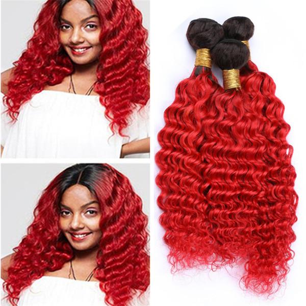 Dark Roots 1B / Red Ombre Paquetes brasileños para el cabello en negro y rojo brillante ola profunda Ombre rizado Extensiones de tejido en cabello humano