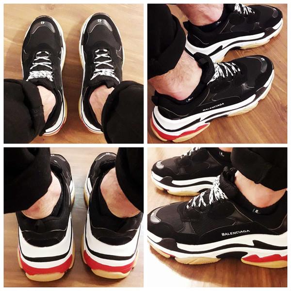 2018 Moda Paris 17FW Üçlü-S Sneakers Üçlü S Rahat Lüks Baba Ayakkabı tasarımcı Erkekler Womens Bej Siyah Spor Chaussures