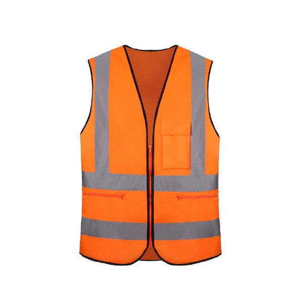 hook and loop & zipper pocket polyester reflective safety vest