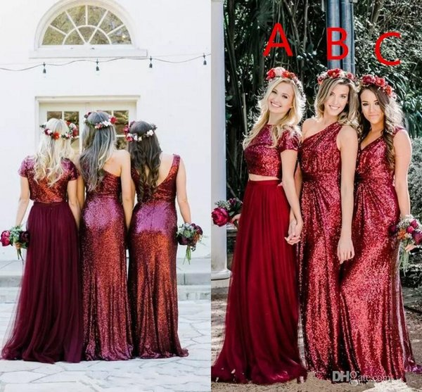 2018 Cheap Bling Burgyundy Sequins Bridesmaid Dresses Two Piece One Shoulder V Neck Sequined Tulle Country Wedding Gust Maid of Honor Gown